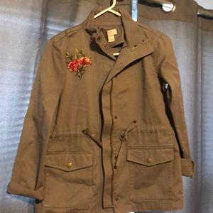 Embroidery Army Green Jacket